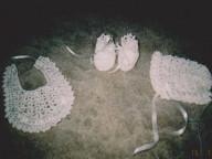 Set of crochet silk bonnet bib and booties