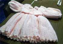 Sleeveless dress with bolero and hat. Any colour in acrylic example pink cream white