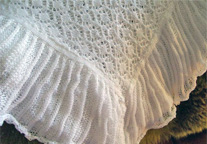 Machine Knitted Shawl comes in white or cream Fabric is cotton/ acrylic  or wool