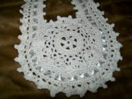 Crochet round cotton bib Lacy
