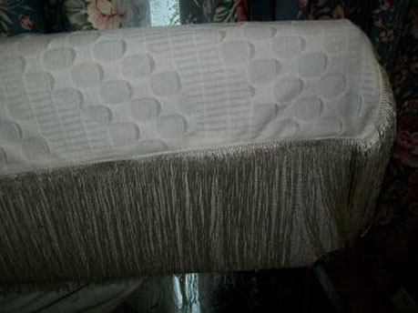 Fringing onto material for wrap and pillowcase