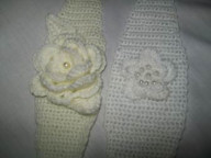 Crochet headbands all colours with roses/flowers with beads in the flowers - White/cream or colour to suit