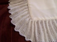 Pillowcase to match the machine knitted shawls comes in white or cream Material fabric for the middle