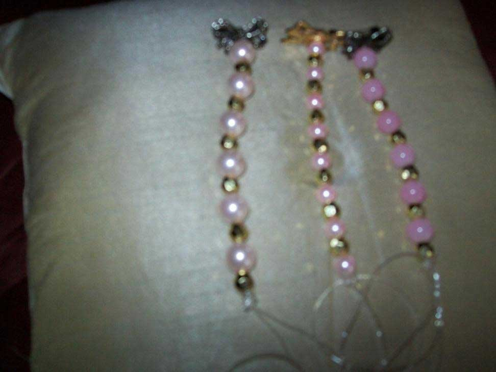 Pink beads with gold silver brooches