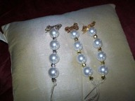 Large Pearl white cream with gold silver brooches